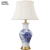 Chinese classical cloth table lamp ceramic table lamp hotel bedside table lamp E27