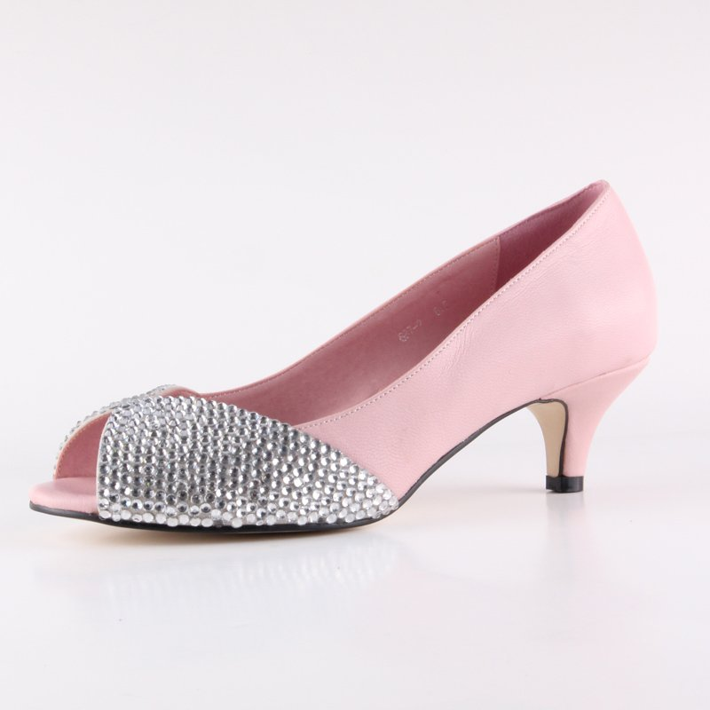 JWS336  free shipping ladies peep toe clear crystal low heel bridal wedding shoes pink prom shoes