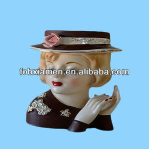 Vintage custom lady ceramic head planter