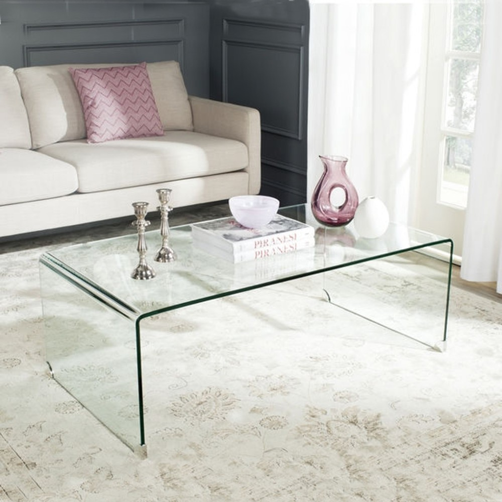 Clear acrylic waterfall console table coffee table lucite for Clear coffee table