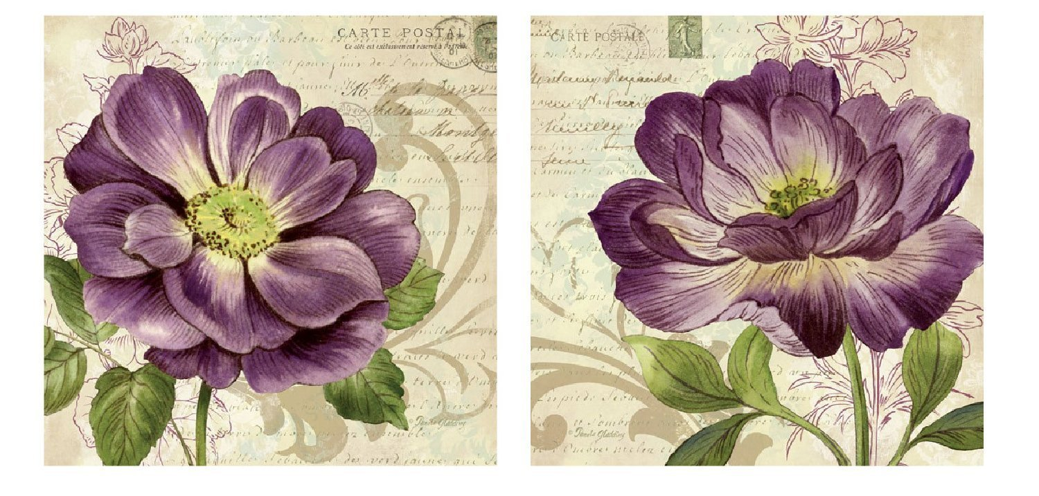 Gango Editions Vintage Study in Purple; Two Beautiful Postcard Style Floral Roses; Two 12x12in Prints
