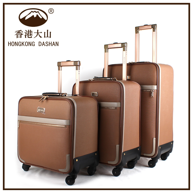 HK DA SHAN 8616# High End Customized Business Used Unique leather Luggage Trolley Bag For Travel