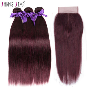 Best Peruvian Bundles With Closure Color 99J Human Hair Extensions