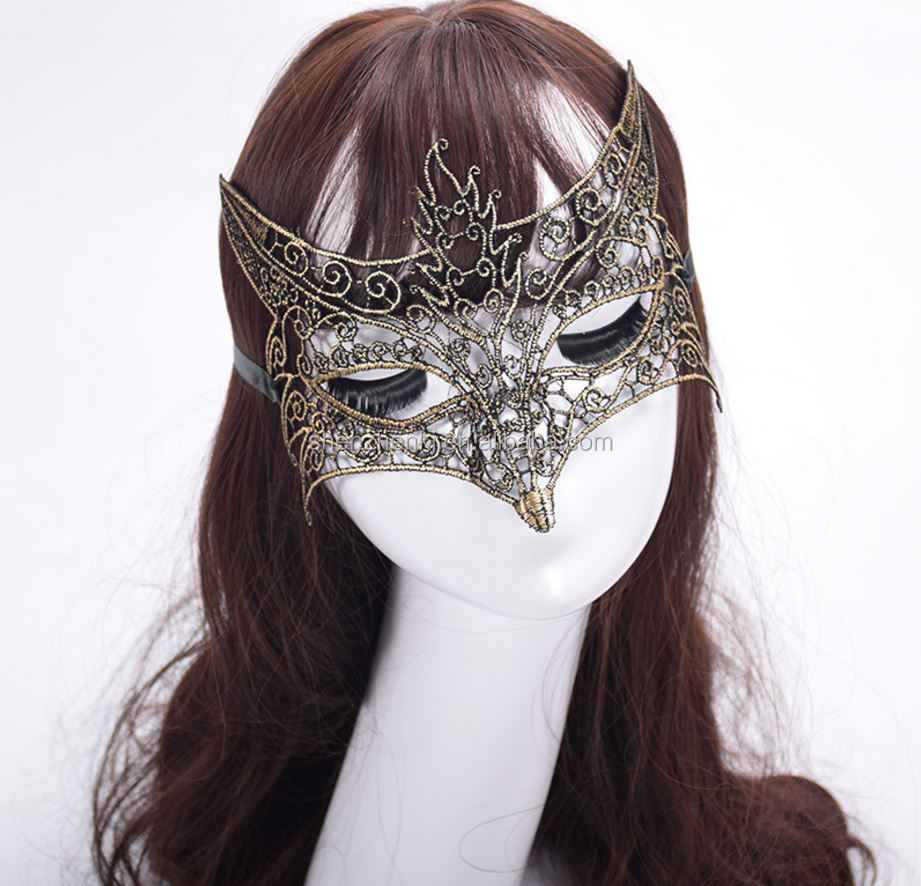 New Girls Woman Lady gold plating silvering Fashion Mask Lace Sexy Prom Party Halloween Masquerade Dance Masks Accessories