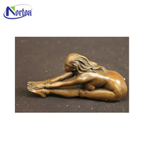 Factory supplies outdoor decor figure statue bronze long hair yoga lady sculpture NT-0025RI