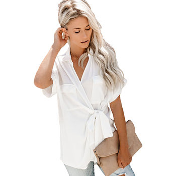 Small Order Dressy Blouses for Women Tie Front Wrap Top Short Sleeve V Neck Shirts Tunic Tops S-XXL