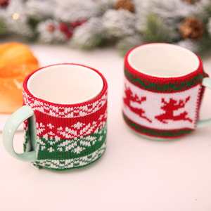 Christmas Knitted Woolen Cup Set Jacquard Knitting Knit Glass Cup Set Mug Set