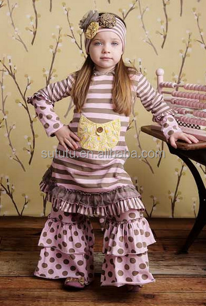 Wholesale little girls boutique remake clothing sets kids fall winter fancy  wear outfit Girls fall 2015 aa3b5285f79b