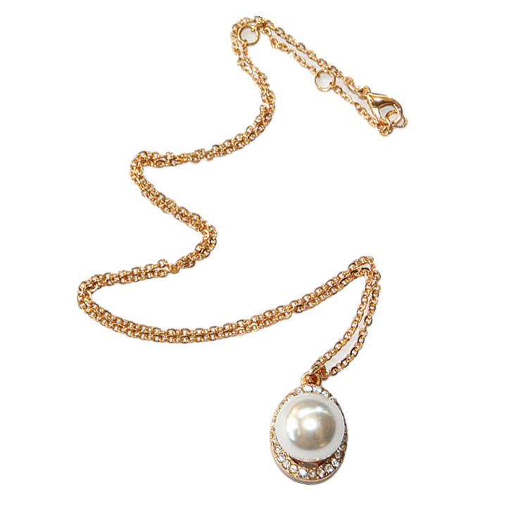 Classic Pearl Drop Necklace Single Pearl Necklace Fashionable ...