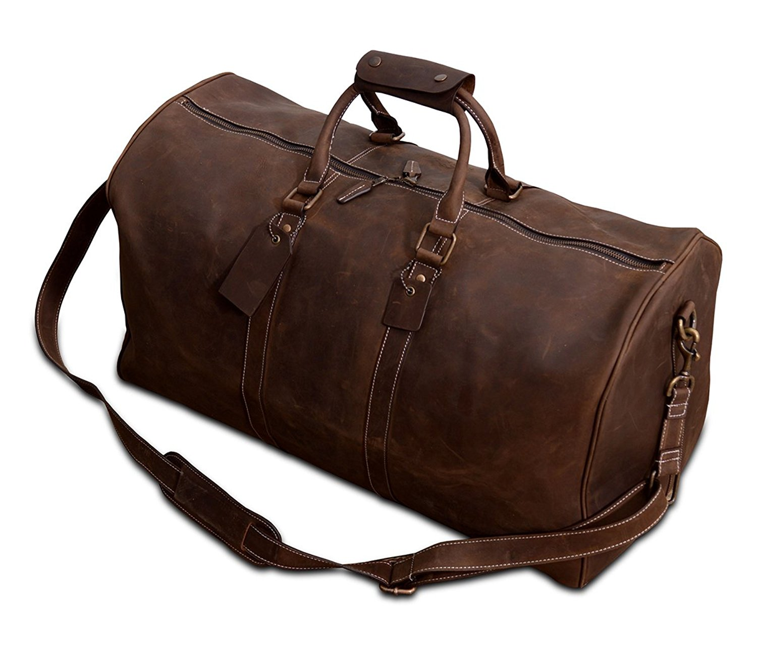 Xport Designs MONT Gokina - Vintage Leather Duffel Bag - Brown Leather Duffel - Carry On - Weekend Bag