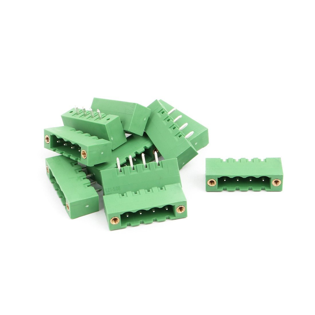uxcell 10Pcs AC 300V 15A 5.08mm Pitch 4P Terminal Block Wire Connection for PCB Mounting