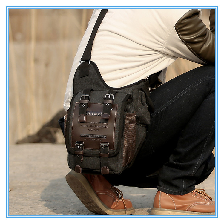 Vintage Canvas Leather Patchwork Shoulder Military Messenger Bag For Men Boys Sling School Bags Shouder