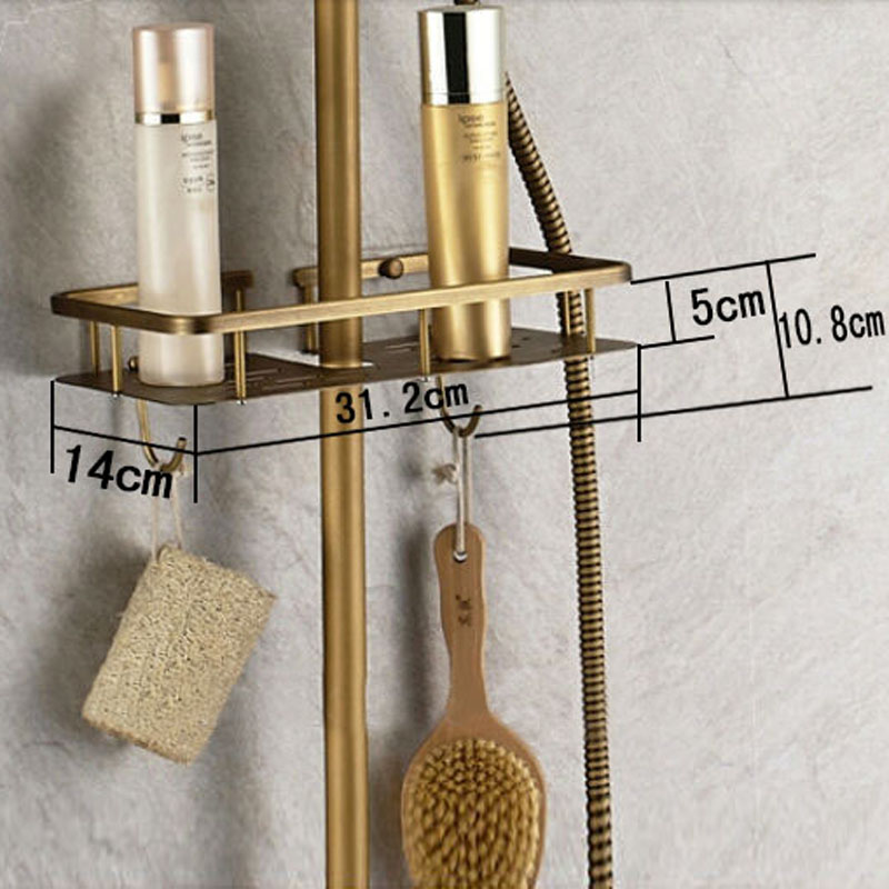 Antique Brass Single Handle 8 Inch Rain shower head Shower Set Faucet with Shelf Mixer Tap