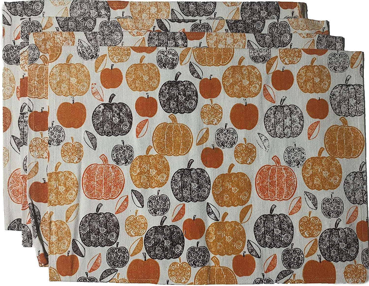 """Nidico Set of 4, Printed Decorative Fall/Halloween / Thanks Given Collection Tapestry Placemats Size : 13"""" x 19"""". (Pumpkin Print)"""