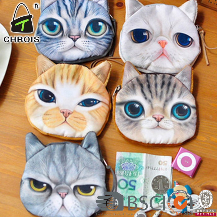 3D DIY coin purse wallet women,design your own cute cat cartoon canvas wallet