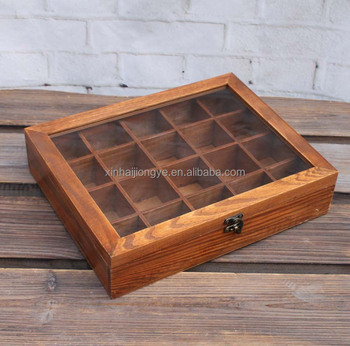 Great Vintage Glass Lid Wooden Tea Storage Box With Dividers