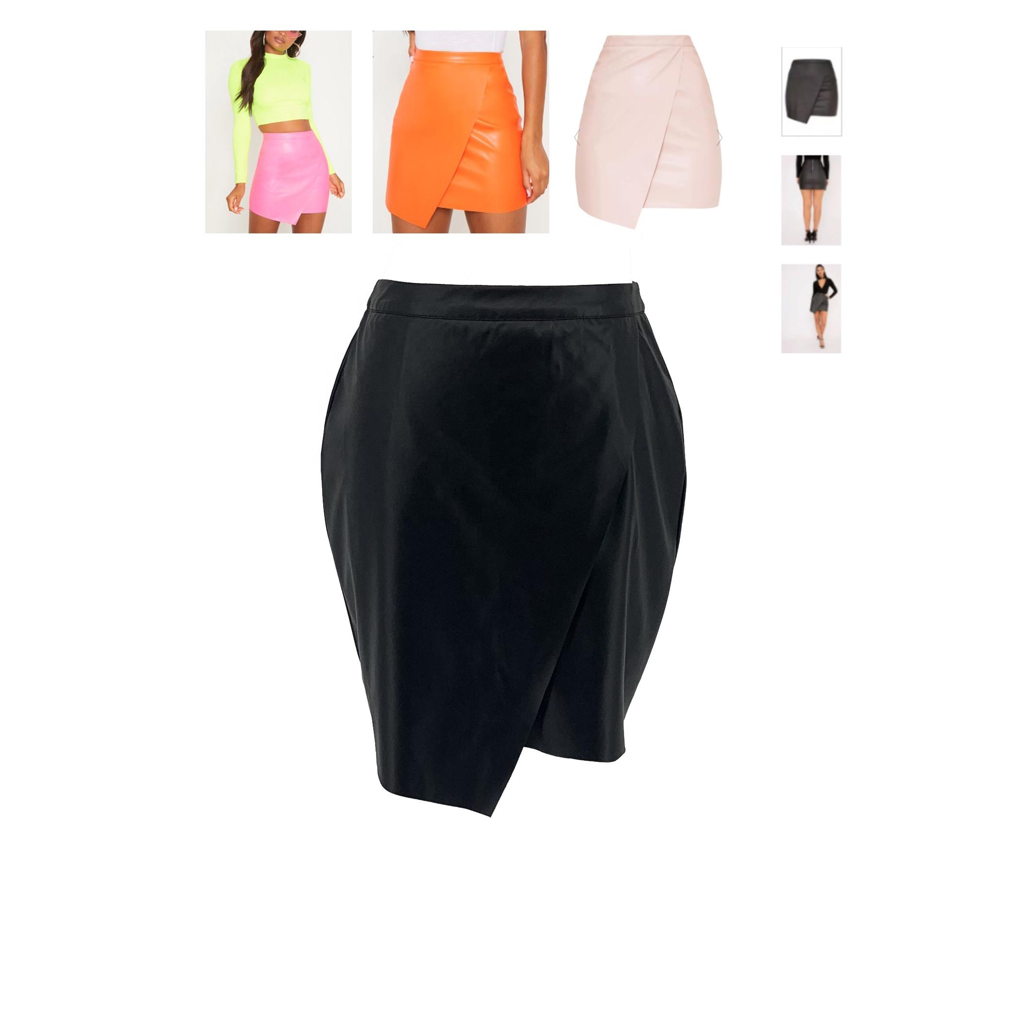 4415603268c34 Frauen Klassische Hohe Taille Faux Leder Bodycon Schlank Mini Bleistift Rock