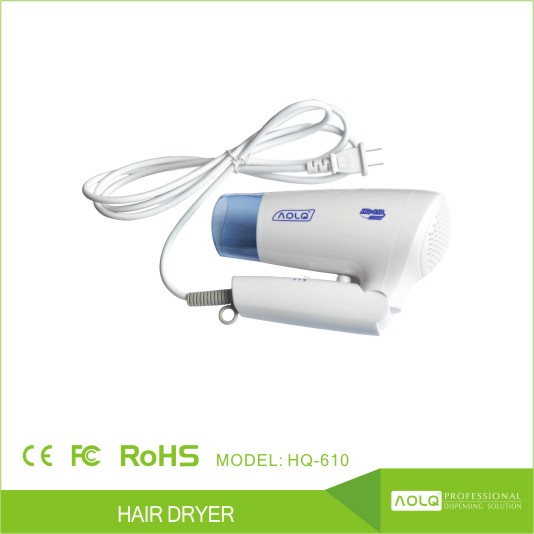 Professional Hotel Bathroom Use 1200W Low Noise Hair Dryer with Mounting to Wall