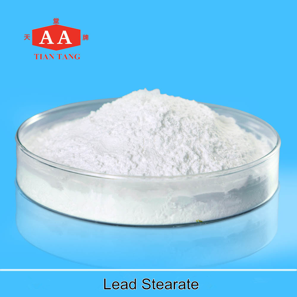 white powder, insoluble in water, soluble in alcohol lead stearate