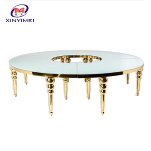 China manufacturer cheap event furniture gold stainless steel table