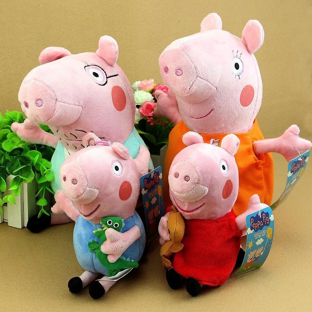 "SeaISee® Peppa Pig Family Plush Toy 4Pcs Set 19-30cm/7.5-12"" Small Size Free, 4Pcs Set¡"