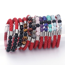 kjlzyzy140-7959 Women Charm Bracelet Nature Stone Beads Genuine Leather Wristband Red Color Sheepskin Bangle for Men Fashion