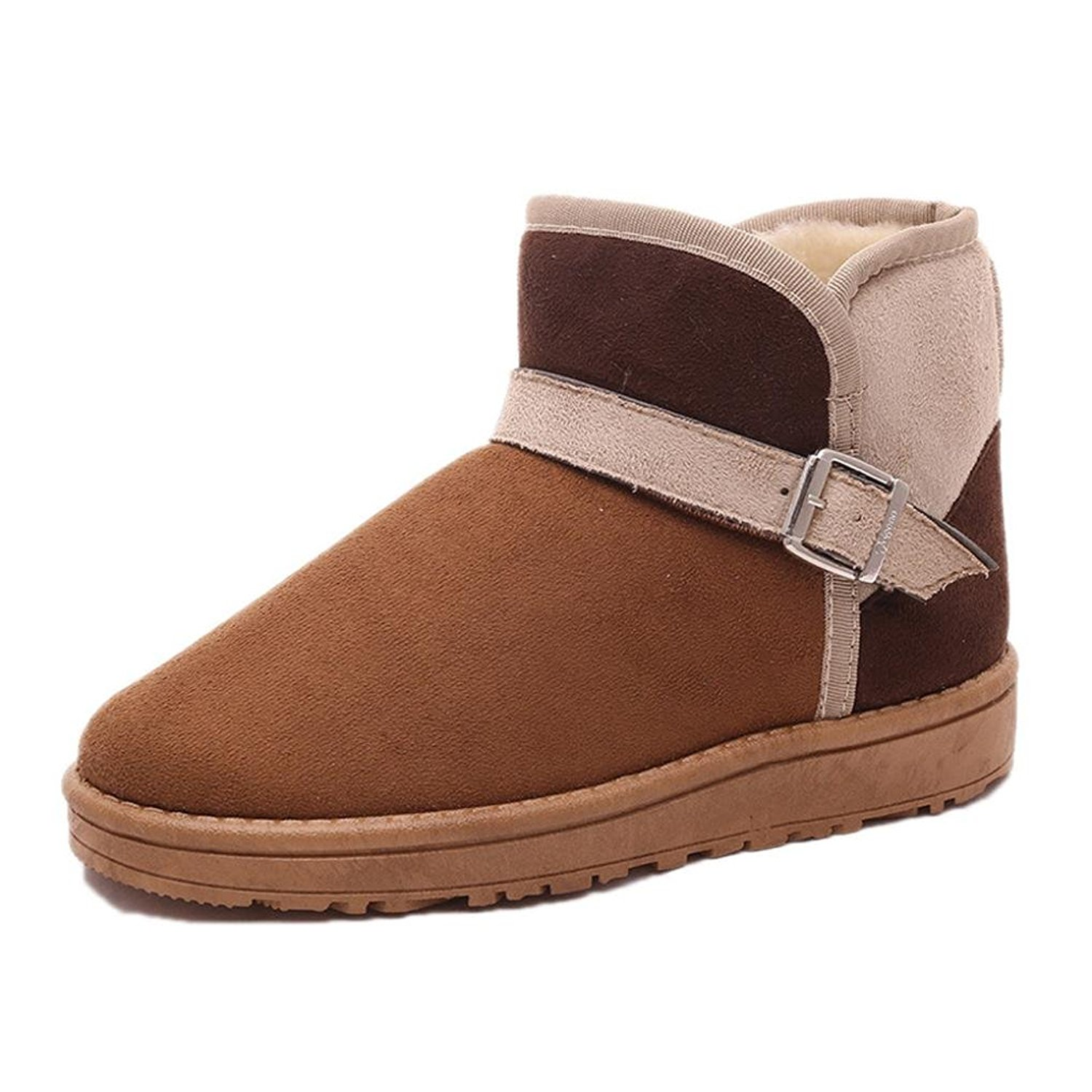 DEESEE(TM) Ladies Women Boots Flat Winter Warm Shoes Short Snow Boots (US 7, Brown)