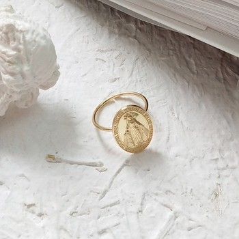 18k Gold Plating 925 Sterling Silver Virgin Mary Adjustable Ellipse Coin Ring