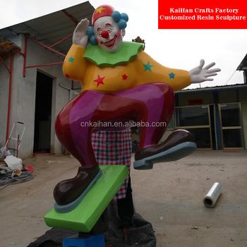 theme park decorative fiberglass clown cartoon characters buy