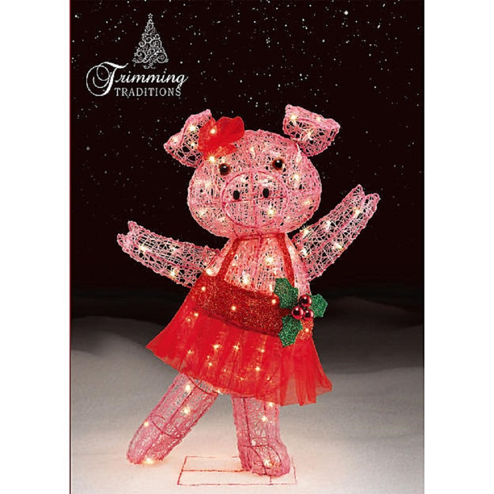 get quotations christmas 32 in dancing tinsel pig with tutu and bow outdoorindoor yard decoration - Pig Christmas Decorations Outdoors
