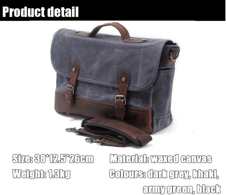 European Design Style Vintage Retro Water Proof Unisex Waxed Canvas Leather Messenger Shoulder Camera Bag for Men