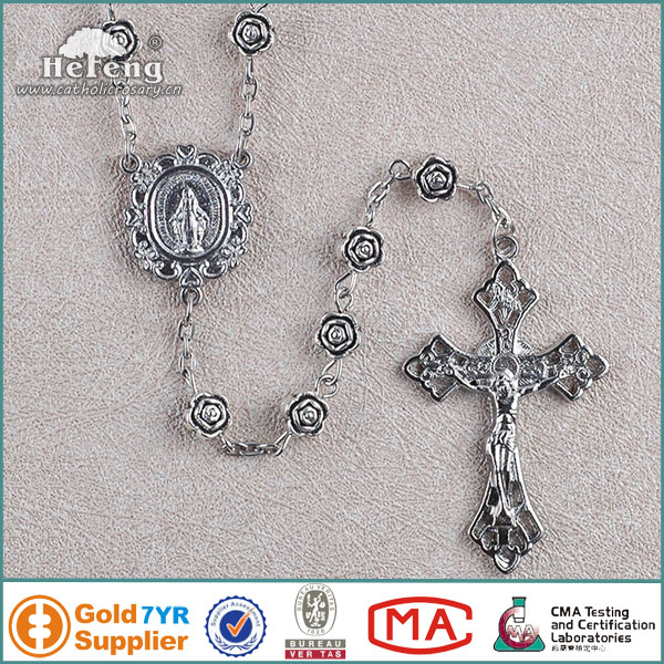 2013 Newest Catholic Women's Metal Rose Rosary Necklace
