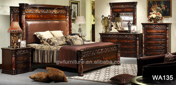 hand carved wood bedroom sets hot selling middle east style black furniture antique mahogany