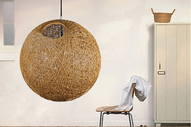 Modern Rattan Pendant Lamp Round Ball Shade Chandelier Mesh ...
