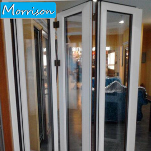 Design Temper Glass Balcony aluminium Bifold/bi-fold Folding Door With Germany Hardware
