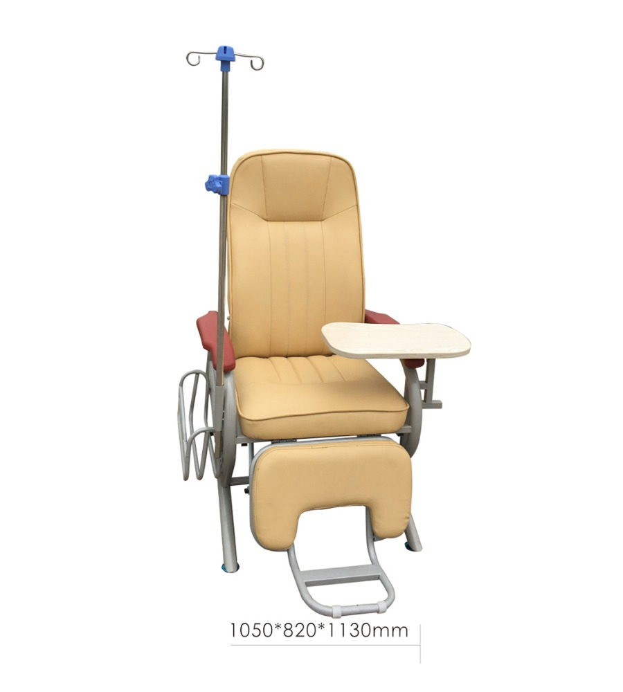 WCM-F-E010 Cheap Hospital Use Infusion Chair Iron Patient Transfusion Chair Steel Pu Blood Transfusion Chair with IV Pole