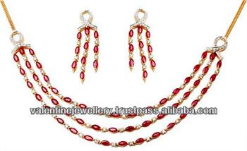 Diamond Ruby Necklace Solid 18k Gold Sets Three Line Ruby Diamond