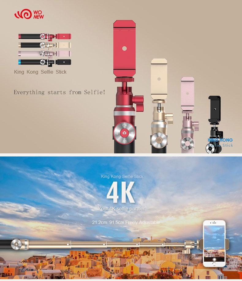 Portable Bluetooth Rechargeable selfie stick monopod