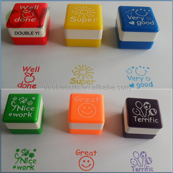 Cheap Custom Plastic Teacher Comments Toy Stamps For Promotional Gift