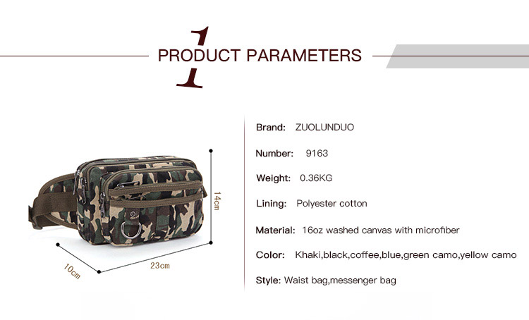 Classic practical canvas camouflage bag, military fans camouflage multi-level canvas sport waist bag