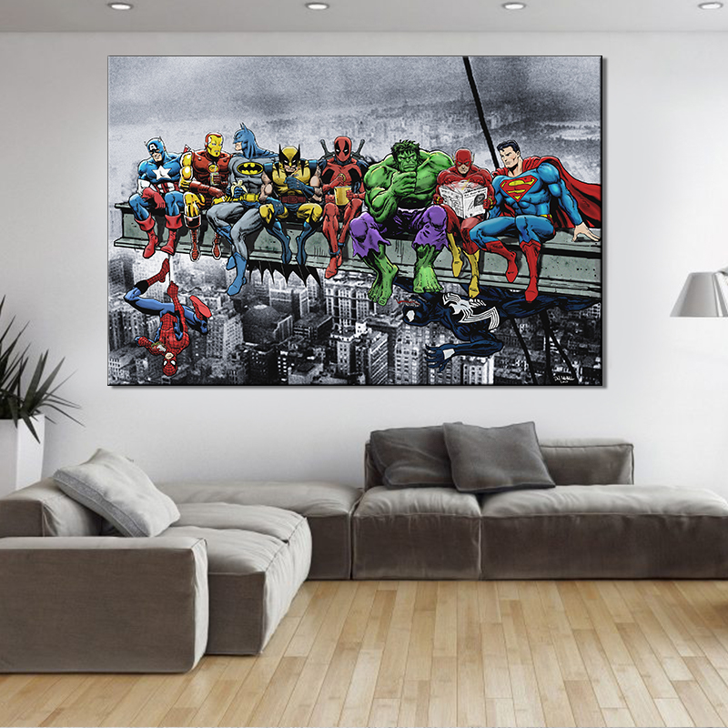 2018 Hotsell Single Panel Big Size Anime Superman Canvas Print Painting Modern Artwork Painting For Home Decor