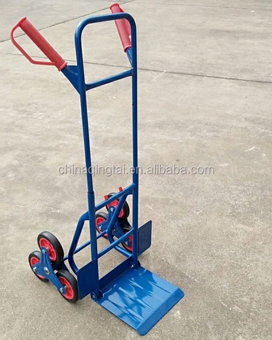 Stairway transport cart six wheels metal tool cart folding stair climbing hand trolley