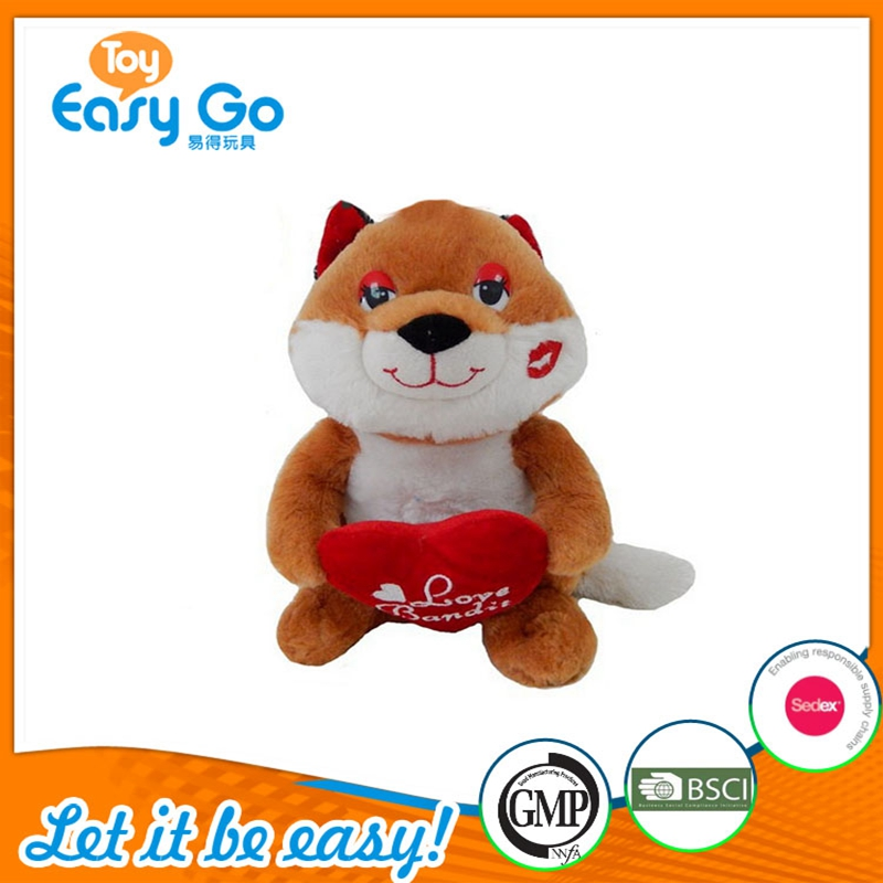 Hot Sale Animal Stuffed Fox Plush Toys With red Heart