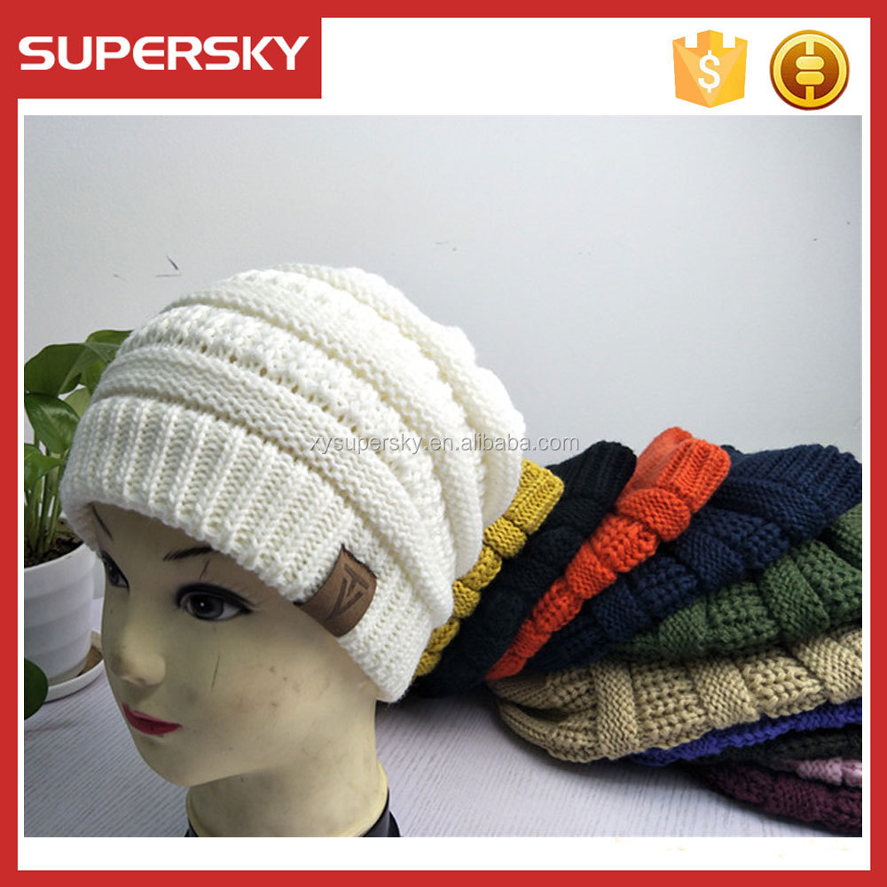 T129 Chunky Soft Stretch CC Hat Spring Unisex Knit Thick Slouch Beanie Hat