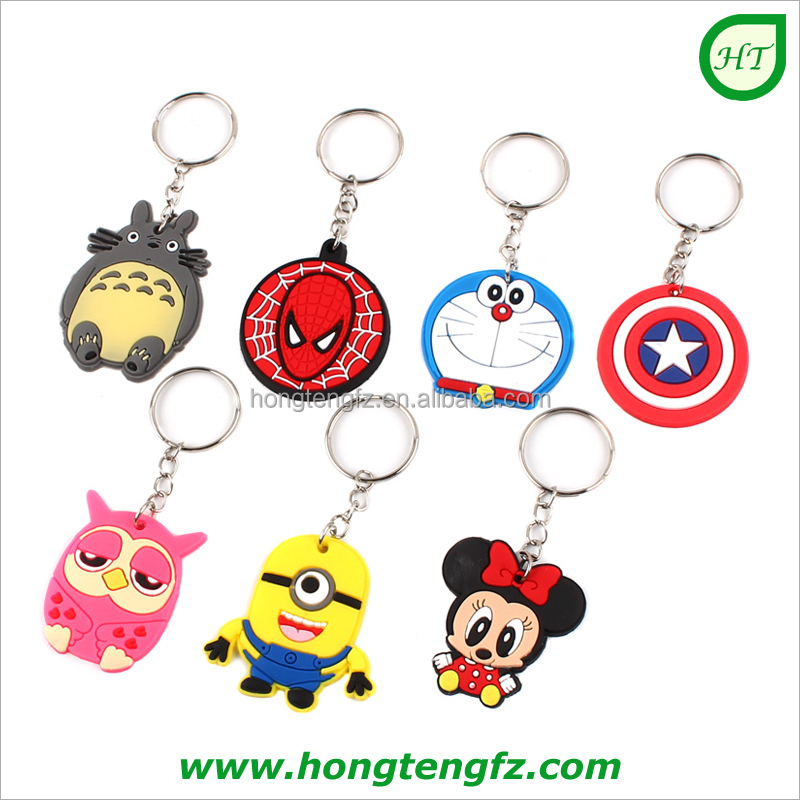 Custom logo design cartoon 2D 3D soft pvc keychain/ keyrings