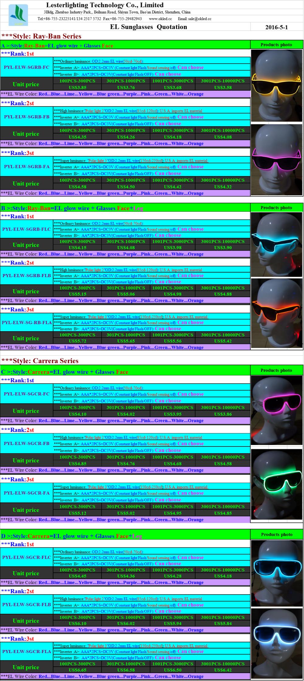 El Wire Sunglasses Fashion Double Color Led Lighting Flash Shutter ...