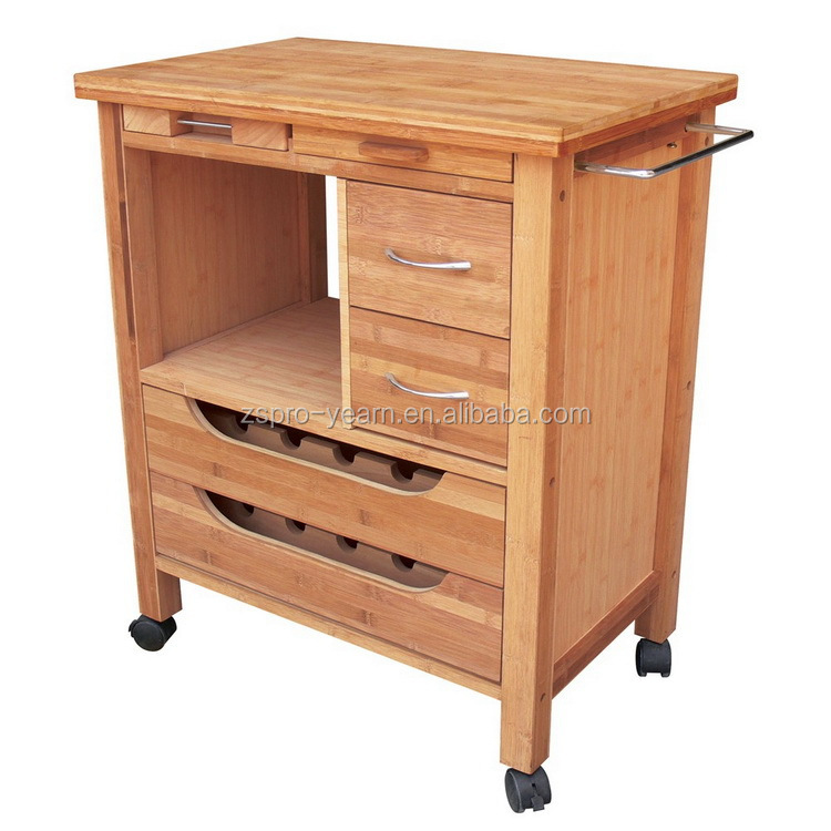Modern design wooden kitchen serving trolley service cart for Kitchen trolley designs