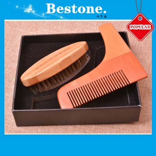 Wooden Men Beard Grooming Brush Combs Set