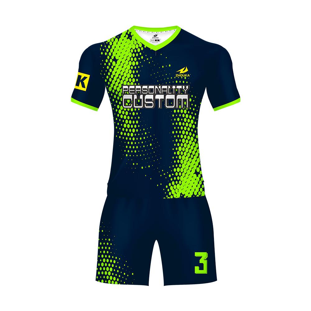 c40bcb7c30d59 La fluorescencia de color verde ropa de fútbol de sublimación caliente  trajes de ropa para hombre