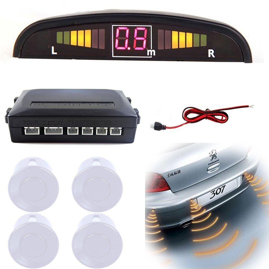 Aumo-mate Car Backup Radar Vehicle Reverse Voice System with Backlight Auto Sound Alert System LED Display 4 Parking Sensors - White